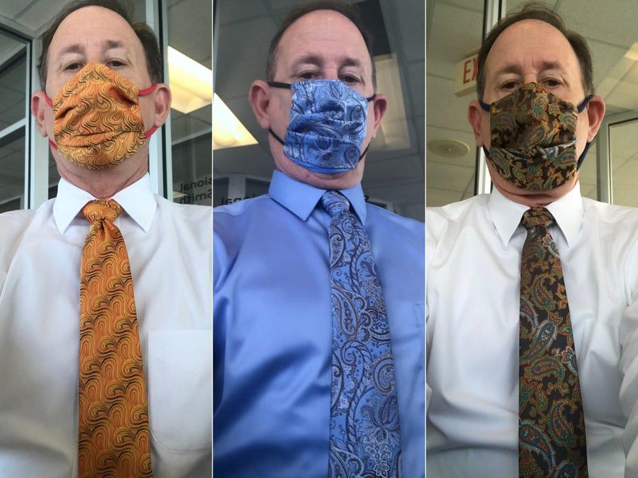 Ông Steve gây sốt khi đeo khẩu trang đồng điệu với cà vạt.