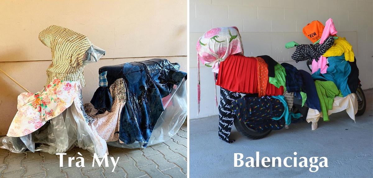Hai tác phẩm có nhiều tương đồng của Trà My và Balenciaga.