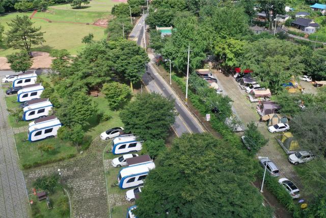 Những ngày nghỉ hè, khu cắm trại ở Jeollanam-do không còn chỗ trống vào ngày 26/7. Ảnh: Yonhap.