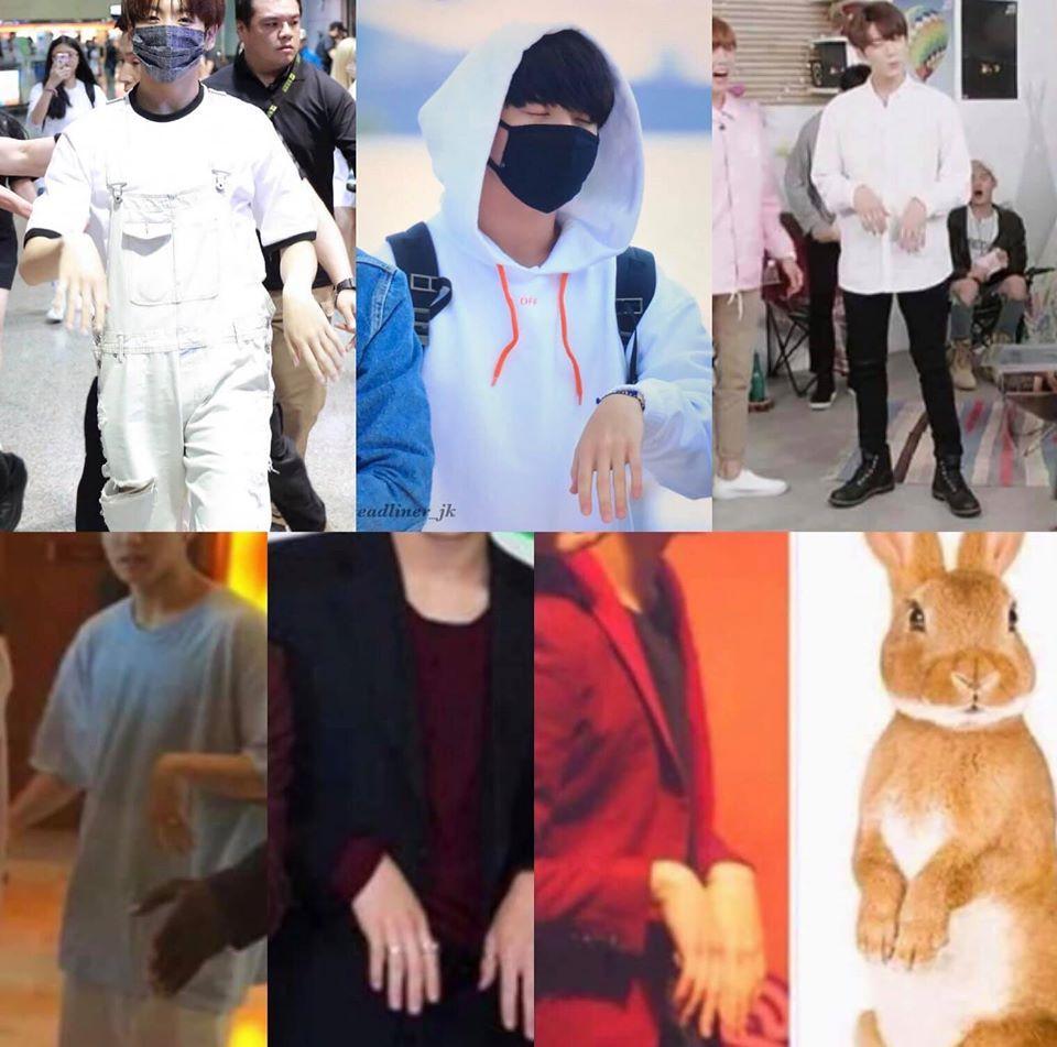 Jung Kook cũng có thói quen thả lỏng cơ tay khiến anh chàng trông cực kỳ giống hậu duệ của loài thỏ.