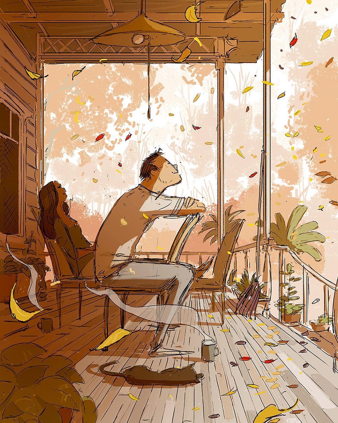 Những cuối tuần ngồi bên nhau nhâm nhi tách trà và ngắm lá rơi khiến tâm hồn ta bình yên đến lạ.