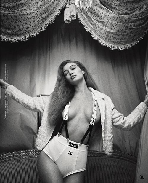 Gigi Hadid ngực trần chụp hình thời trang - 1