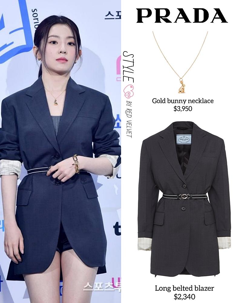 Irene sang chảnh trong thiết kế blazer dáng dài của Prada có giá 2.340 USD (khoảng 54,2 triệu đồng).