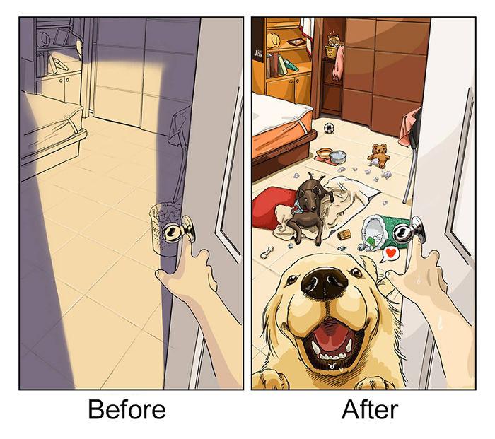Khi bạn đi vắng, nhà cửa sẽ trở thành một bãi chiến trường của pet.