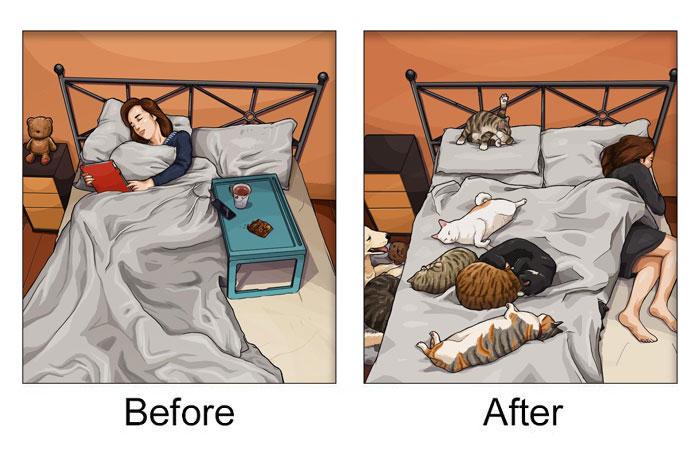 Hơn một nửa chiếc giường trở thành địa bàn của các quàng thượng.