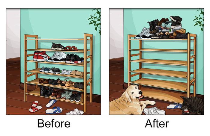 Giày dép của bạn nếu không cất lên cao sẽ bị chó cưng dùng làm vật thí nghiệm độ sắc bén của răng.