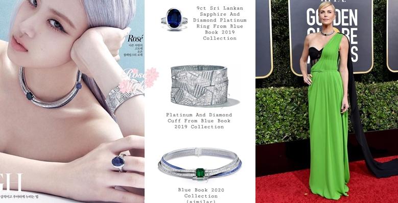 Chiếc vòng cổ Rosé đeo thuộc bộ sưu tập High Jewelry Blue Book 2019. Chiếc vòng này từng có một mẫu tương tự được đeo bởi nữ diễn viên Charlize Theron tại thảm đỏ lễ trao giải Golden Global Award lần thứ 77 có giá 885,000 USD (hơn 20 tỷ đồng). Món trang sức được đính khoảng 57 cara kim cương và đá Sapphire cùng một viên ngọc lục bảo 10 cara. Điểm khác biệt là chiếc vòng Rosé đeo gắn thêm một viên đá Sapphire nên dự đoán có thể giá tiền của chiếc vòng này lớn hơn rất nhiều so với con số 885,000 USD.