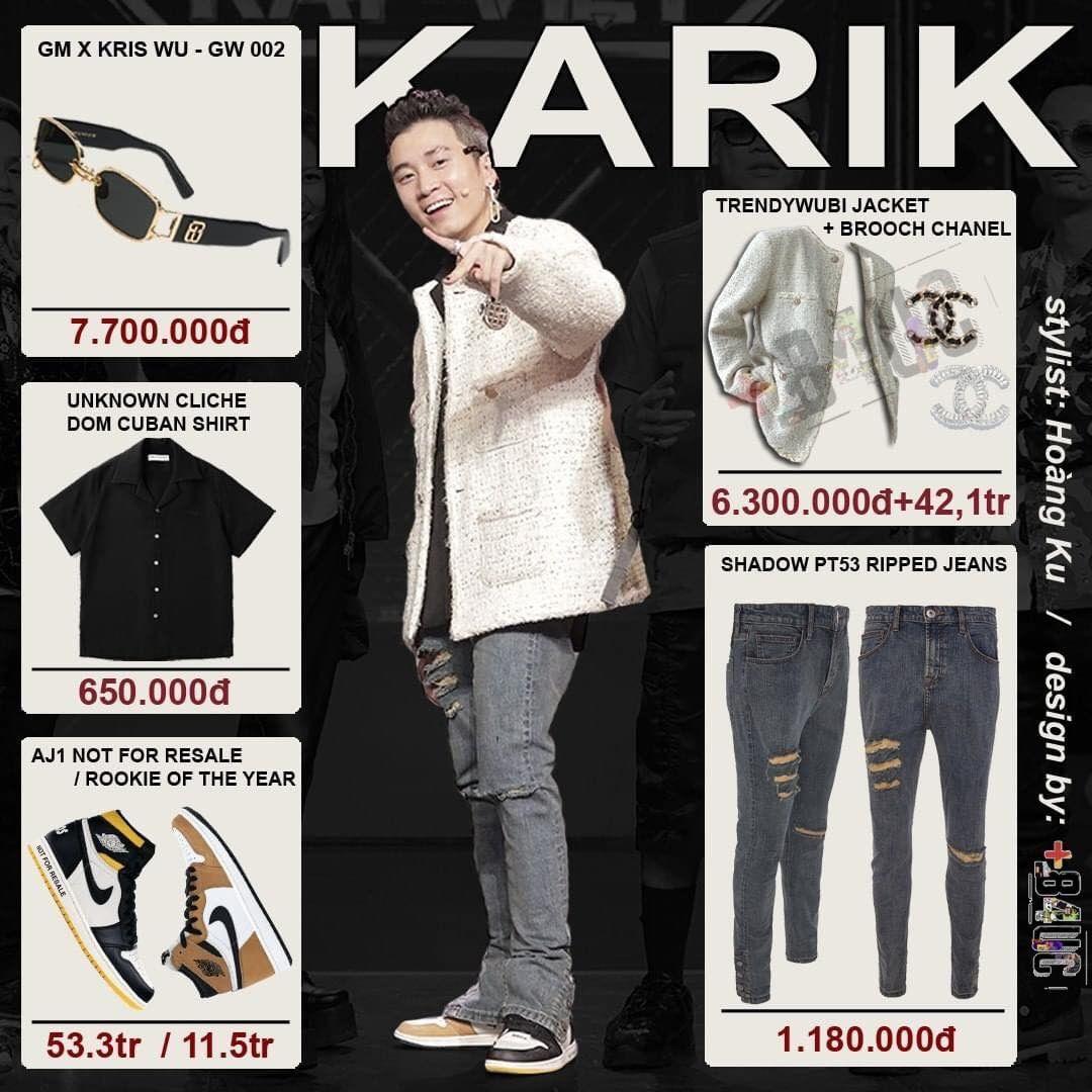 Karik để lại ấn tượng tại Rap Việt là HLV kỹ tính, nhận xét chuyên sâu. Bên cạnh đó, gu thời trang của Karik cũng được chú ý. Karik là HLV thay đổi 180 độ sau vòng lựa chọn. Từ phong cách phi hành gia với nguyên cây trắng, Karik trở nên sành điệu hơn nhiều ở vòng đối đầu. Mặc quần jeans và khoác jacket bình thường, Karik tạo điểm nhấn khi diện cùng lúc hai loại giày khác nhau. Bên phải Karik đi Nike Rookie, bên trái nam rapper đi Nike AJ1. Nam rapper cũng bắt trend rất nhanh khi tậu cho mình chiếc kính mắt GM x Kris WU hot hit.