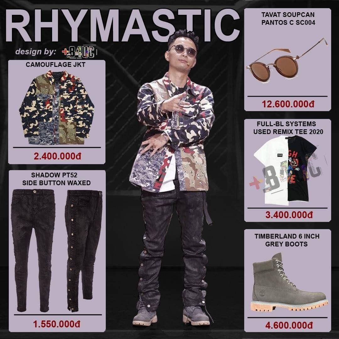 Rhymastic là giám khảo tiết kiệm nhất Rap Việt. Nam rapper chủ yếu lựa chọn những item bình dân nhưng phù hợp với cá tính âm nhạc bản thân. Chiếc kính Tavat Soupcan Pantos C SC004 có giá 12,6 triệu đồng là món đồ đắt đỏ nhất của Rhymastic.