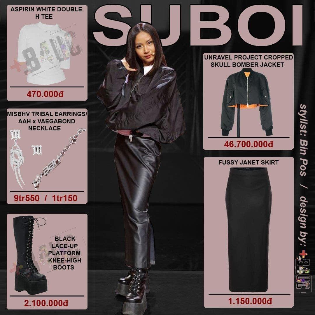 Là HLV nữ duy nhất nhưng Suboi không quá điệu đà. Nữ rapper chọn những item thông dụng  như boots, chân váy da, bomber jacket,... để tạo sự thoải mái.  Món đồ giá trị nhất của Suboi là chiếc bomber jacket có giá 46,7 triệu đồng. Sau đó là một món phụ kiện có giá gần 10 triệu đồng. Những item còn lại của nữ rapper dao động từ 400.000 đến 2.000.000 đồng.