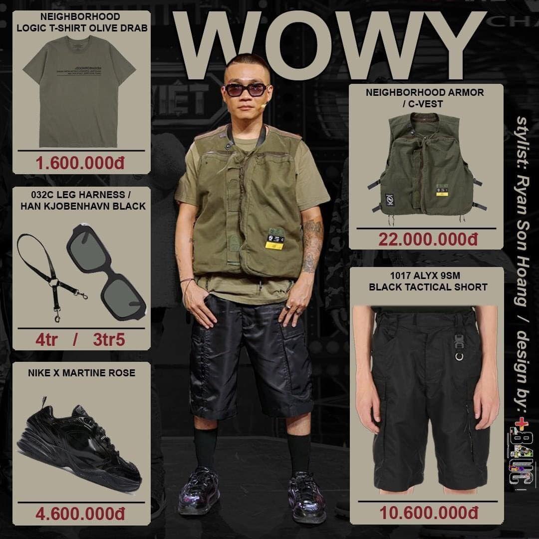 Lão đại Wowy chia sẻ trong tập 8 Rap Việt anh xuất hiện với hình tượng thợ săn. Hình ảnh nam rapper gai góc Wowy mặc t-shirt, quần shorts được fan khen trẻ trung.  Tổng set đồ của Wowy là 46,3 triệu đồng.