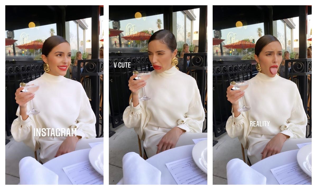 Olivia khoe chuỗi khoảnh khắc cô nàng nhấm nháp ly cocktail lên Instagram cá nhân. Có vẻ đây không phải thức uống yêu thích của người đẹp tóc nâu.
