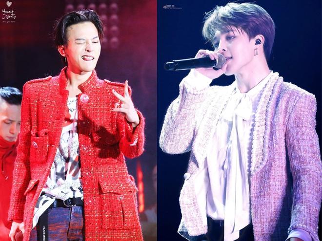 Diện áo vải tweed vốn không phải là kiểu mốt xa lạ với nhiều sao nam Hàn. Nhiều mỹ nam như G-Dragon, Ji Min...lăng xê phong cách unisex rất tích cực.