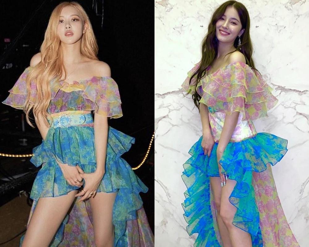 Diện cùng bộ đầm thướt tha bay bổng của Lang & Lu, Rosé cao tay hơn Nancy khi cắt ngắn phần eo, giúp váy vừa phù hợp vóc dáng, vừa không bị sến sẩm.