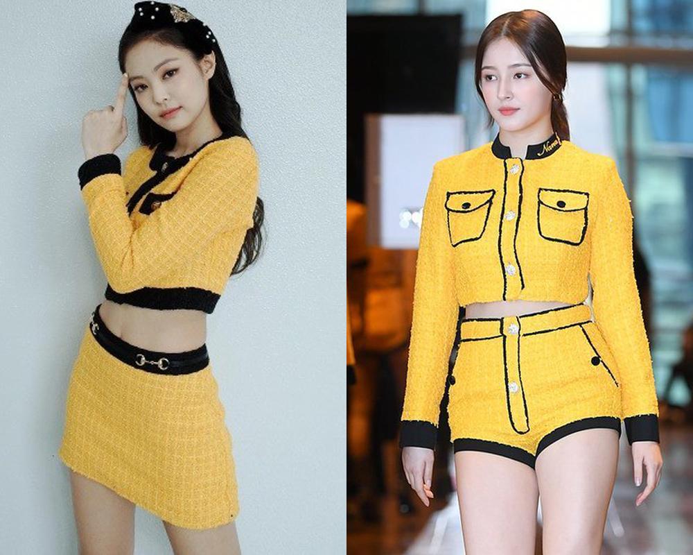 Set vàng vải tweed của Nancy bị nghi bắt chước trang phục huyền thoại của Jennie. Bộ váy vàng của Gucci từng giúp Jennie khẳng định phong cách sexy pha trộn chút cổ điển bắt mắt. Trong khi đó, trang phục của Nancy giống về chất liệu và màu sắc, tuy nhiên kiểu dáng kém sang đôi phần.