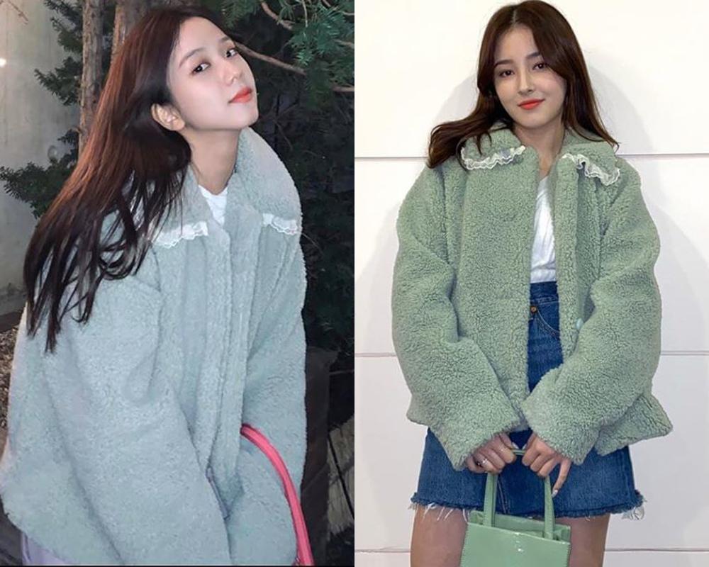 Cùng mặc áo khoác bông tông xanh mint xinh xắn, Ji Soo và Nancy tạo nên cuộc chiến về visual. Cả hai đều rất xinh đẹp, tuy nhiên thần thái của mỹ nhân Black Pink giúp cô trông sang chảnh hơn Nancy khi mặc chiếc áo này.