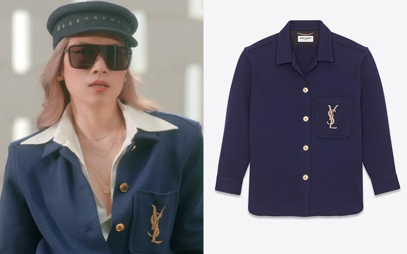 Chiếc áo xanh navy với logo YSL thêu chỉ vàng nổi bật giá khoảng 41 triệu đồng được Mỹ Tâm kết hợp cùng mũ Hermes, tạo nên diện mạo cool ngầu.