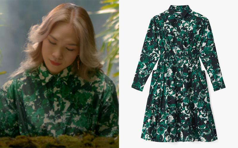 Ngoài Saint Laurent, trong MV Mỹ Tâm cũng ưu ái Kenzo. Với thương hiệu này, nữ ca sĩ chủ yếu chọn những mẫu đồ họa tiết. Bộ váy hoa xanh cô mặc khi ngồi đánh đàn có giá hơn 17 triệu đồng.