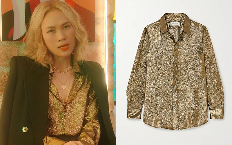 Chiếc áo metallic được chị đại Vbiz chọn mặc đã hết sạch trên website của hãng, đang được bán với giá khoảng hơn 21 triệu đồng ở Net-a-porter.
