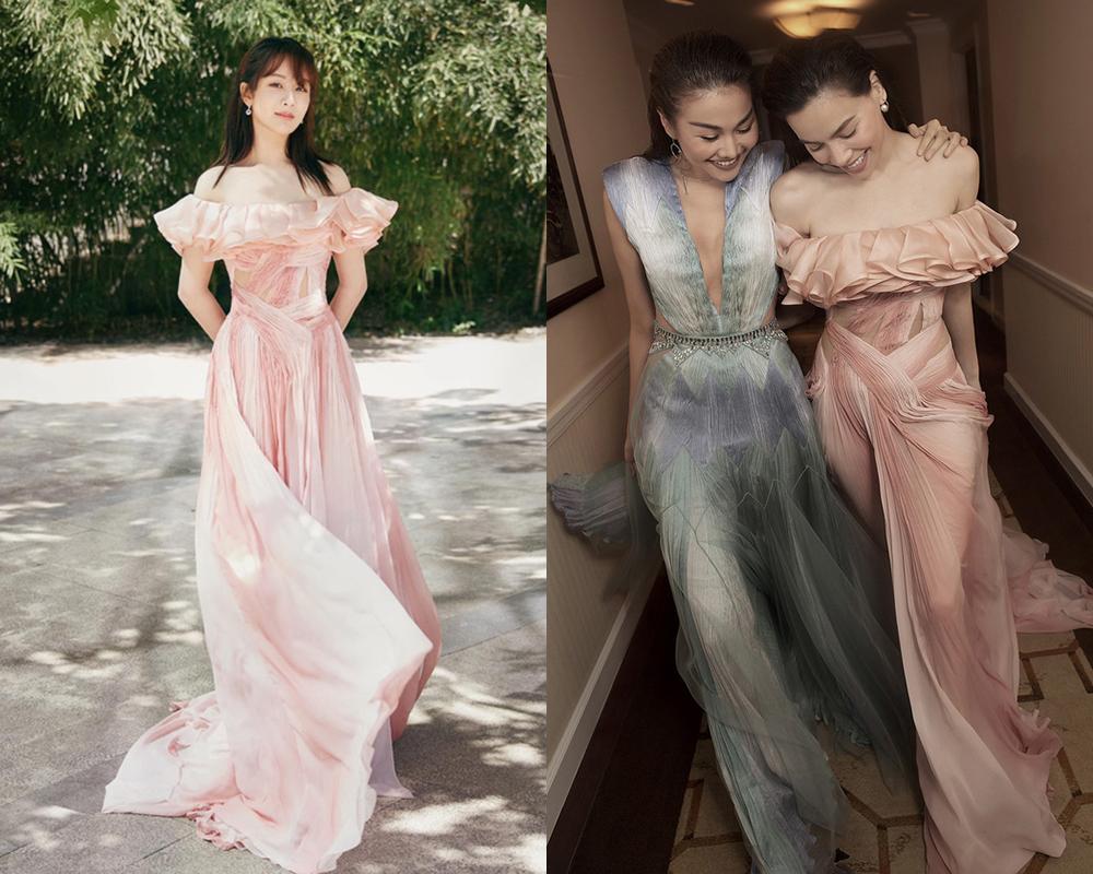 Cuộc so kè nhan sắc của tiểu hoa đán và nữ hoàng giải trí Việt khiến khán giả khó lựa chọn ai mặc chiếc váy này đẹp hơn.