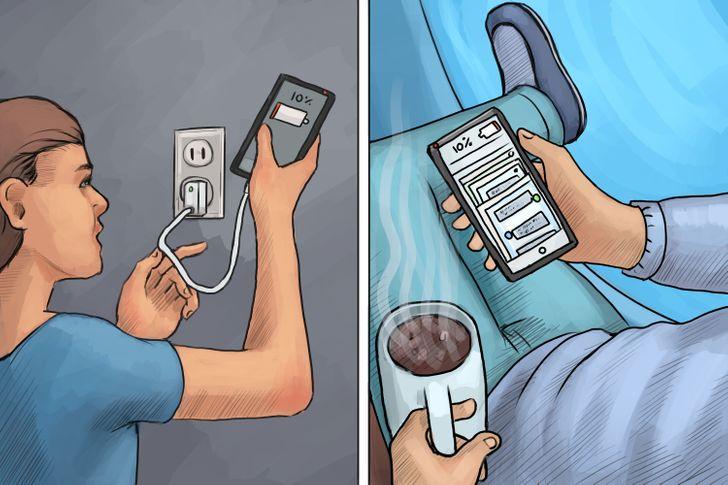 Những người điện thoại báo pin yếu sẽ mang đi sạc ngay, còn có người vẫn dùng cho đến khi chỉ còn 1-2% pin.