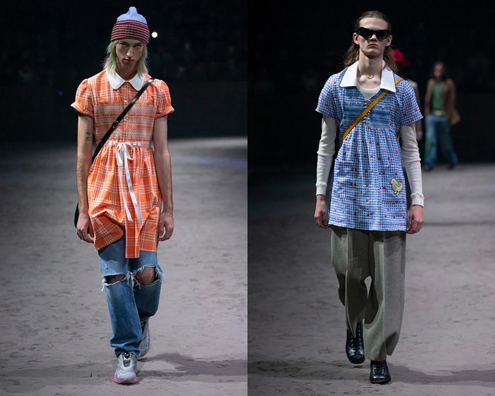 Trong BST này, Gucci giới thiệu rất nhiều mẫu váy dành cho nam, được hãng giải thích là phá vỡ những định kiến độc hại tạo nên khuôn mẫu nam tính.