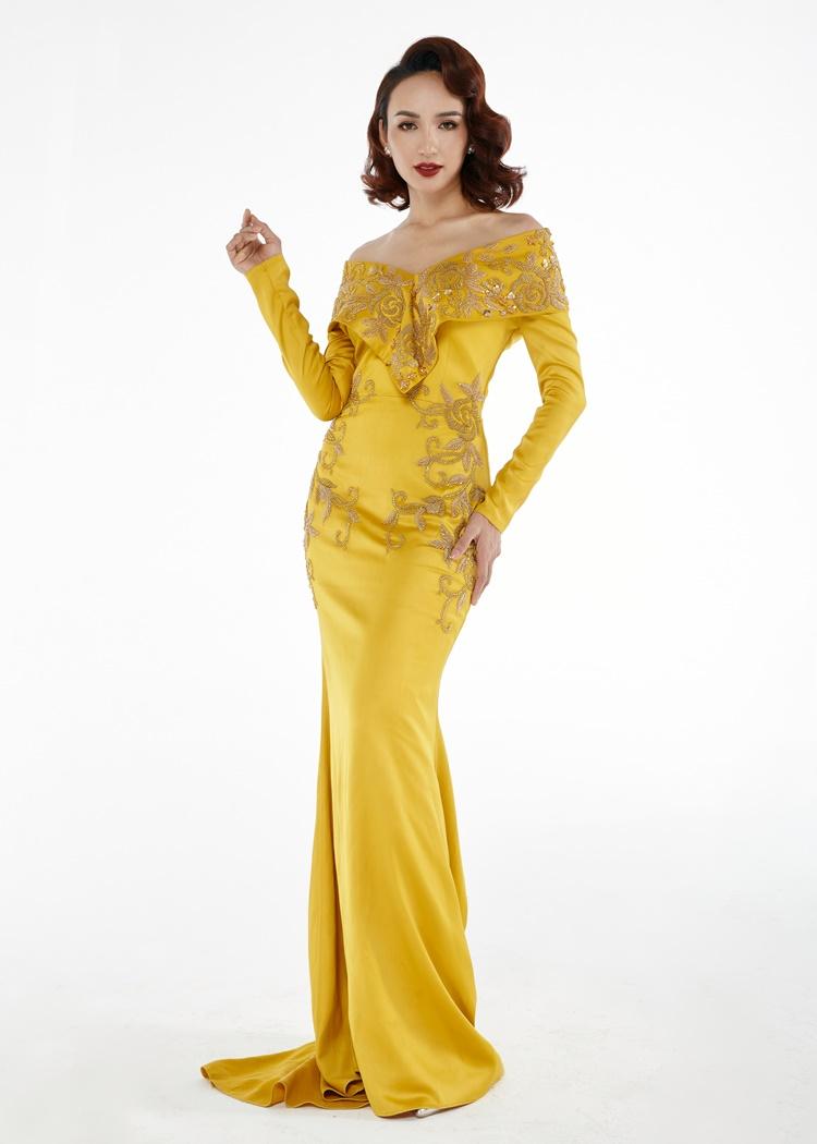 Ngọc Diễm khoe vẻ sang trọng, quý phái với bộ đầm và kiểu tóc mang đậm hơi hướng những thập niên cũ.