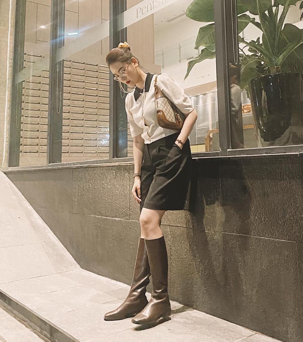 Hà Lade chuộng cách mix đồ retro như các quý cô thập niên cũ.
