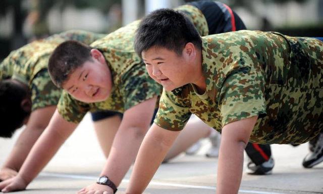 Trẻ em Trung Quốc bị thừa cân béo phì tham gia khóa huấn luyện giảm cân. Ảnh:SCMP