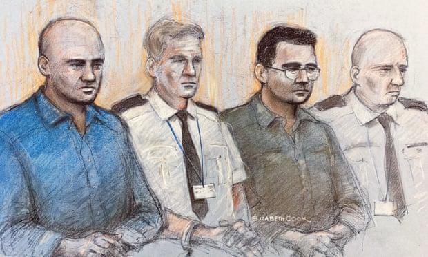 Tranh vẽ các bị cáo Gheorghe Nica (áo xanh) và Eamonn Harrison (áo đen) tại toà án Old Bailey, London. Ảnh:PA.