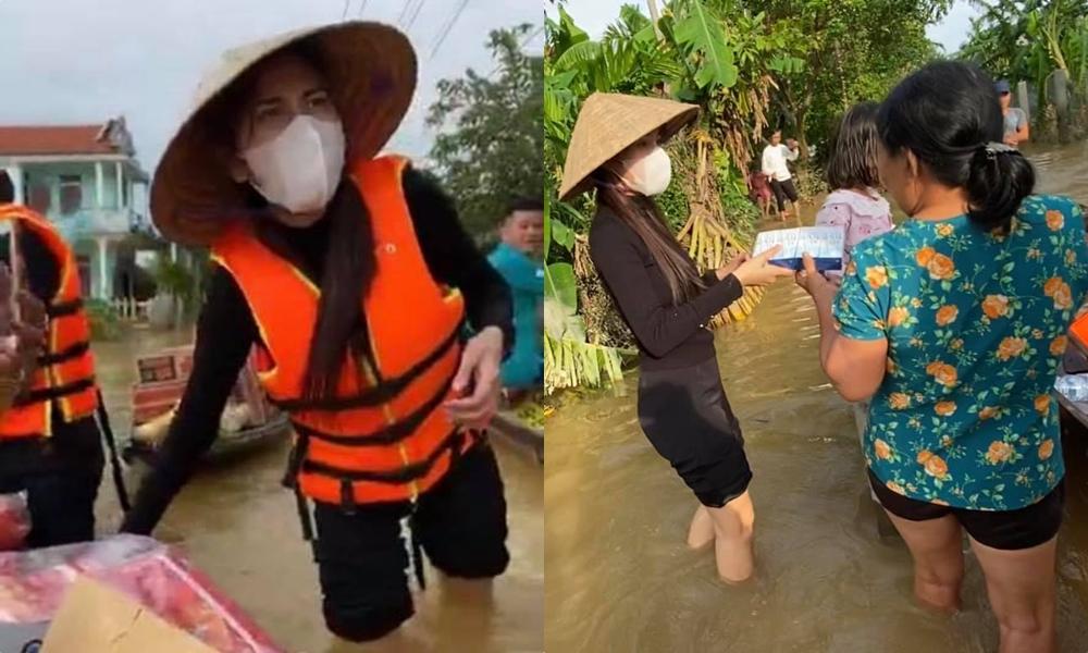 Hình ảnh Thủy Tiên trực tiếp đi cứu trợ miền Trung bị lũ lụt.