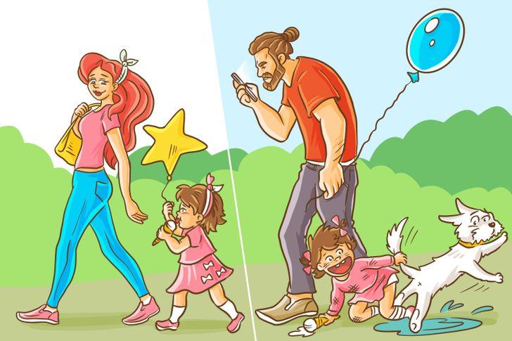 Khi đi dạo cùng con, mẹ thường để ý con mọi lúc mọi nơi, còn bố đôi khi hơi chểnh mảng.