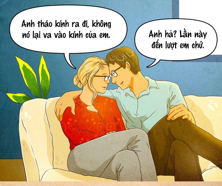 Nụ hôn đi kèm với mắt kính không thể lãng mạn nổi.