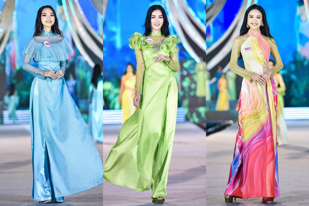 Trước đó, ở vòng thi Người đẹp du lịch, trang phục áo dài của các thí sinh cũng khiến nhiều khán giả chưa vừa mắt.