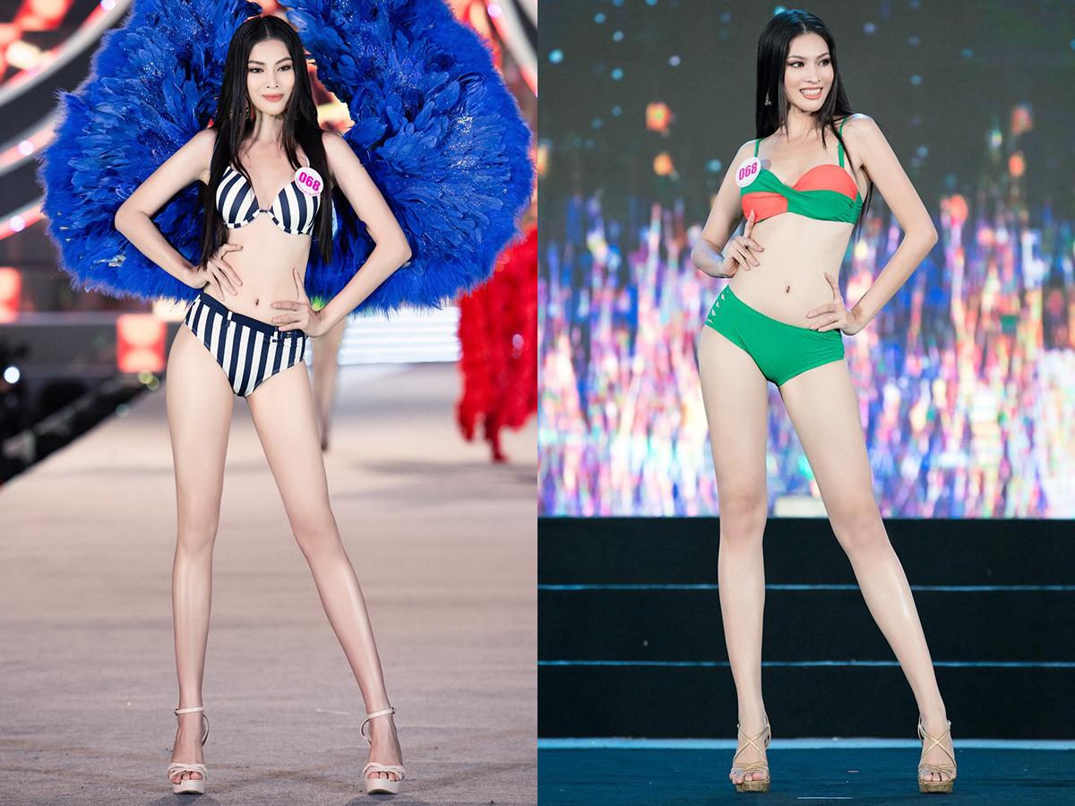 So sánh hình ảnh của họ trong đêm thi tối qua và những ảnh diện đồ tắm trước đó, không khó để thấy sự thay đổi về đôi chân, vòng eo.