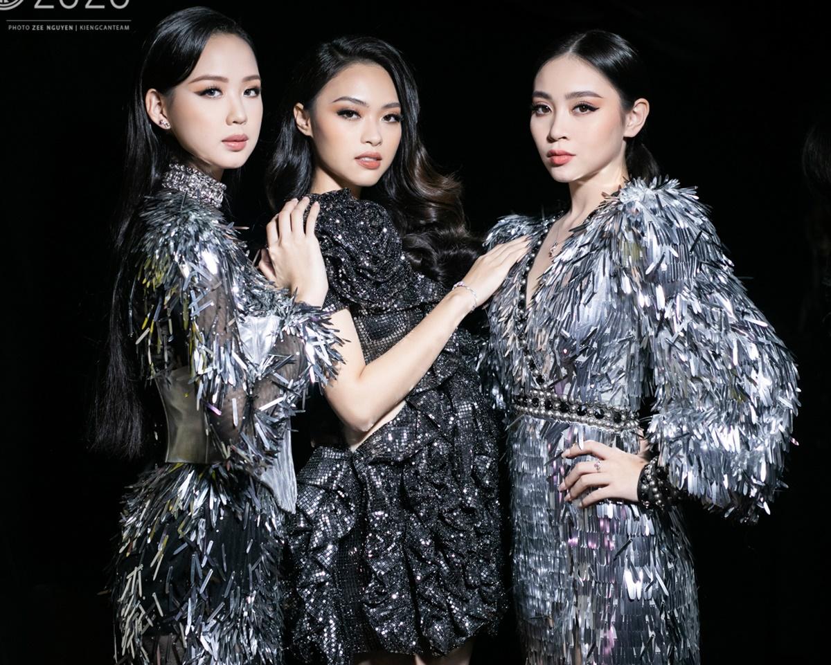 Thế mạnh về dựng phom 3D kết hợp đính sequins của Trần Ninh Hưng một lần nữa được phát huy.