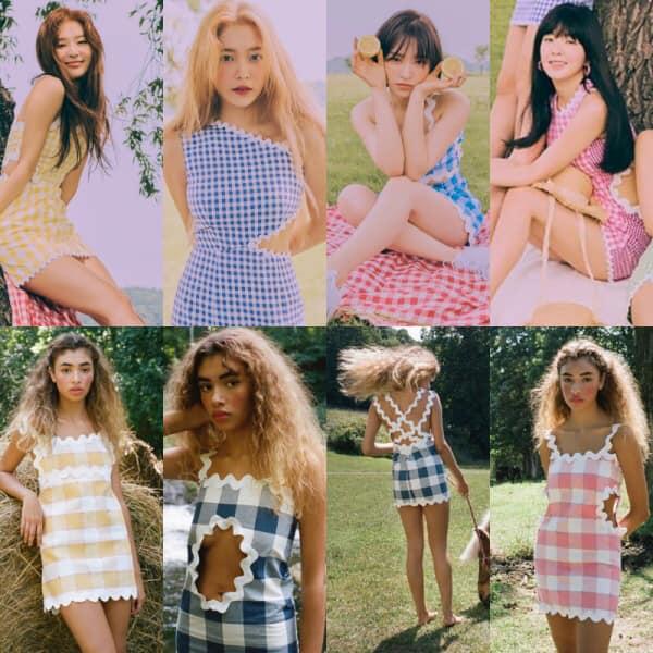 rong lần trở lại với MV  Umpah Umpah  Red Velvet từng bị chính thương hiệu thời trang New York  Paris 99  tố cáo ngay trên instagram story về việc đạo nhái. Bộ sưu tập được lấy cảm hứng từ những chiếc tạp dề đặc trưng của các bà nội chợ xứ Mỹ và phía thương hiệu cho rằng outfit của Red Velvet được team stylist của SM lấy cảm hứng có chút quá đà từ những thiết kế của mình. Rất may mắn là sau đó 2 bên đã liên lạc được với nhau, có thể đưa ra thoả hiệp để các cô nàng Red Velvet tiếp tục một mùa quảng bá thuận lợi.