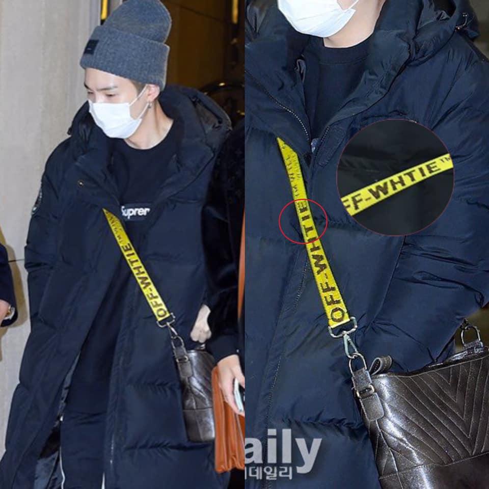 Vào ngày 18/1/2019 , các thành viên BTS đã có mặt tại sân bay quốc tế Gimpo để di chuyển sang Singapore cho lịch trình Concert của mình vào ngày 19/1. Có thể là do đã bị lu mờ quá mức bởi vẻ điển trai của các thành viên, không mấy ai chú ý tới chiếc strap Off White của Suga. Không rõ chiếc túi Chanel Gabrielle bag ra sao , nhưng anh chàng đã thay thế 1 chiếc Strap Off White mà nhìn qua đã biết là fake  Off whTie  vào cho chiếc túi hàng hiệu của mình. Trùng hợp thay, Châu Khiết Quỳnh cũng từng diện đồ fake có  lỗi sản xuất  tưởng tự như vậy khiến nhiều người tự hỏi không biết 2 người có mua cùng chỗ không. Netizen cũng thắc mắc khi mà tại sao tới giờ khi BTS đã có đủ cả tiền tài và danh vọng rồi nhưng vẫn có thành viên phải diện đồ fake lồ lộ như vậy