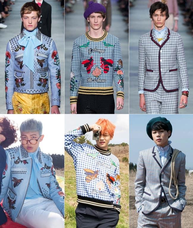 Là nhóm nhạc hàng top của Kpop hiện nay và đã từng vài lần nhận sponsor từ chính nhãn hàng Gucci. Nhiều người bất ngờ khi BTS đã từng dính phải  phốt  diện đồ fake. Cụ thể trong những bức ảnh từ Special Album  Young Forever . 3 thành viên V, Jimin và RM đã bị tố diện những trang phục fake từ thương hiệu lớn Gucci. Nhìn thoạt qua thì cứ tưởng là không sao nhưng nhìn gần lại có thể thấy rõ sự khác biệt trong trang phục trên Runway và đồ các thành viên diện. Với RM thì là số lượng đinh trên áo và hình được thêu khác biệt. Trong khi đó, 2 thành viên V và Jimin thì ở 1 số phần có thể thấy chất liệu cũng như các hoạ tiết nhỏ không hề giống. Với V là phần hình con ong cùng cổ áo, viền áo , tay áo không chỉ khác màu mà chất liệu cũng vậy. Đối với Jimin, nếu nhìn kỹ sẽ dễ dàng chỉ ra rằng hoạ tiết Kẻ Caro, phần chấm bi trên viền áo và kích thước khuy đều xa lạ. Army - Fandom của BTS đã chỉ ra được rằng áo của RM là phiên bản dành cho nữ tuy nhiên với 2 thành viên còn lại, vẫn chưa ai có thể đưa ra lời giải thích thích hợp. Phần lớn fan đều cho rằng khi ấy công ty còn nghèo nên chưa thể chi ra số tiền lớn mua nhưng trang phục hàng hiệu đắt tiền cho BTS diện nên việc này có thể thông cảm được.