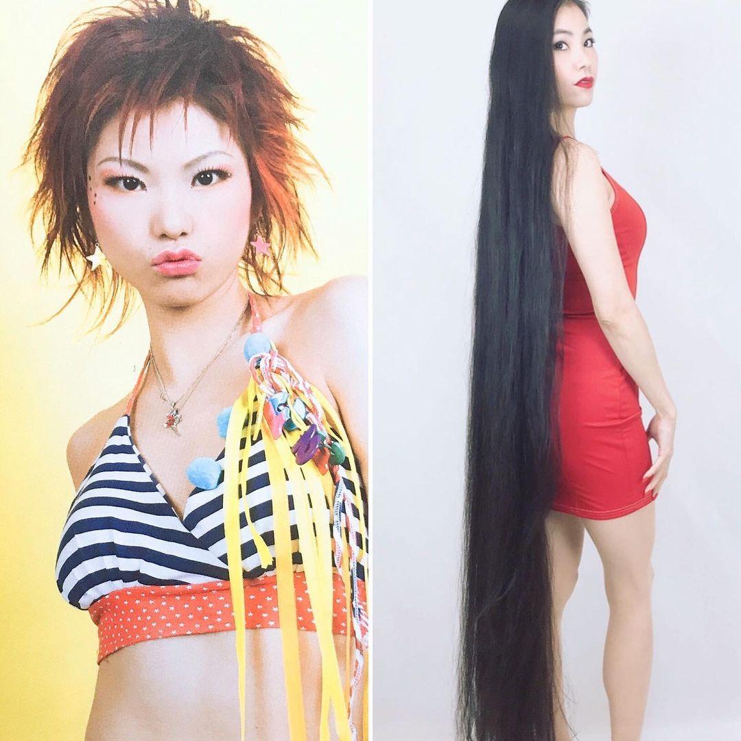 Rin Kambe đăng ảnh thời tóc ngắn và hiện tóc dài.