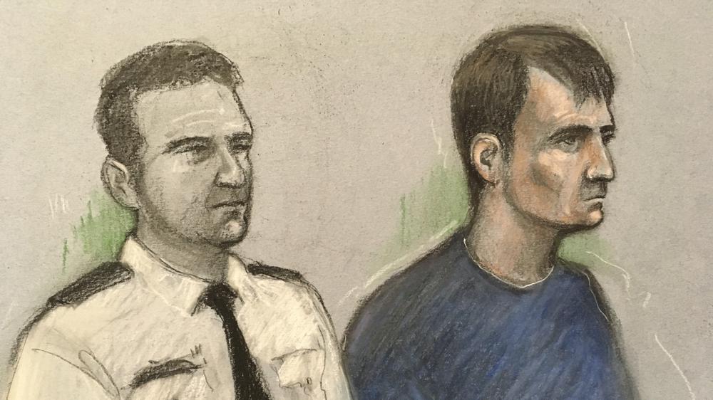 Tranh vẽ bị cáo Christopher Kennedy (phải) tại phiên tòa hình sự ở Old Bailey, London. Ảnh: PA.