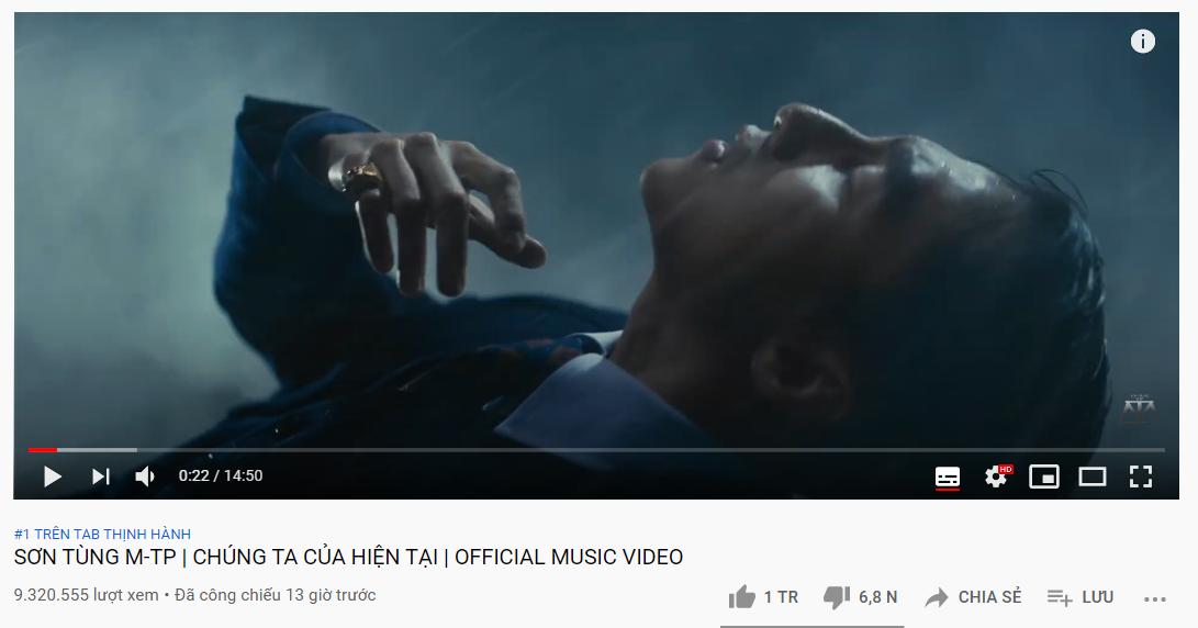 MV đạt top 1 trending YouTube nhanh chóng.