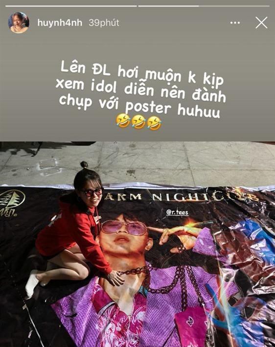 Trước đó, Huỳnh Anh cũng từng công khai sự yêu thích R.Tee khi gọi nam rapper là idol và đi tới Đà Lạt để xem anh biểu diễn.