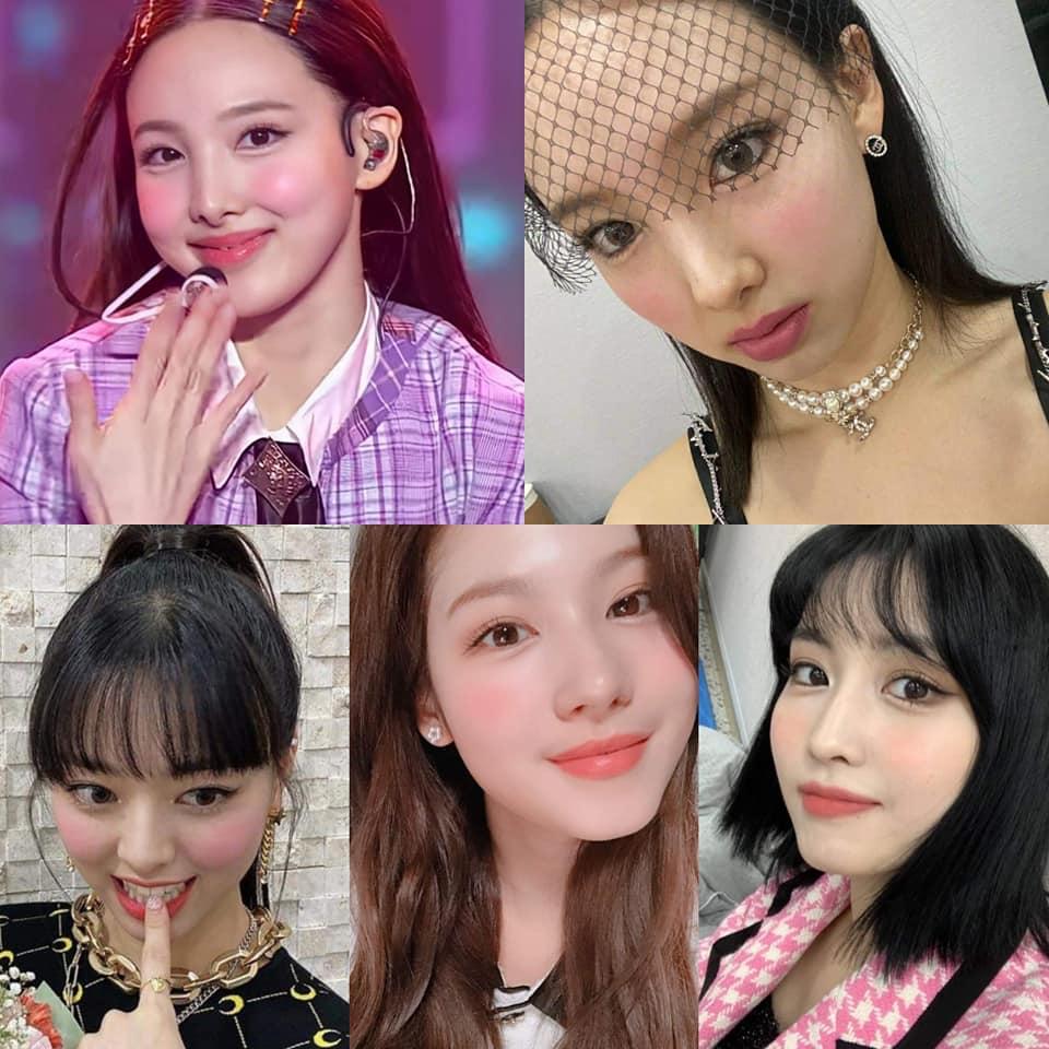 Idol nữ JYP đặc biệt là Twice dạo gần đây thường được makeup bọng mắt to và đánh má hồng đậm