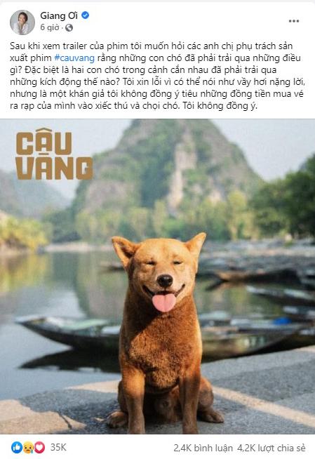 Giang Ơi chỉ trích cảnh phim động vật bạo lực trong Cậu Vàng.