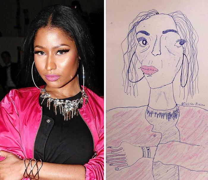 Chỉ nhìn bức vẽ thôi có lẽ Nicki Minaj cũng không thể nhận ra người trong tranh chính là mình đâu nhỉ.