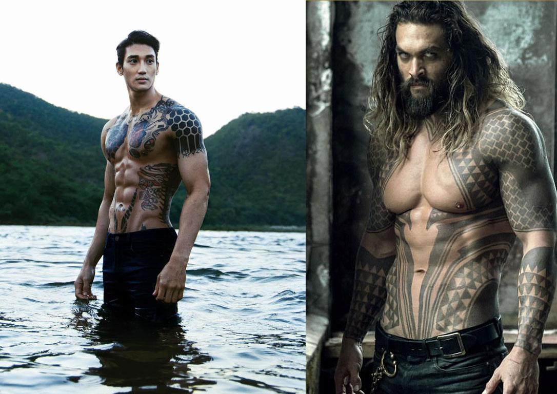 Paing Takhon sở hữu chiều cao ấn tượng 1,88 m và cơ bụng 6 múi. Thân hình vạm vỡ nổi bật hình xăm ngầu lòi khiến anh chàng được mệnh danh là Aquaman châu Á.