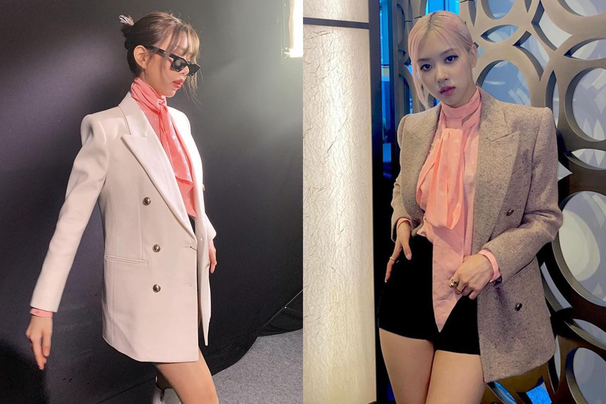 Không khó để nhận ra set đồ của Min cũng từng được Rosé diện trước đó. Nữ ca sĩ Việt có cách kết hợp đồ giống hệt đại sứ toàn cầu của Saint Laurent. Tuy diện sau, Min tỏ ra không kém Rosé về khoản thần thái và khoe chân dài gợi cảm.