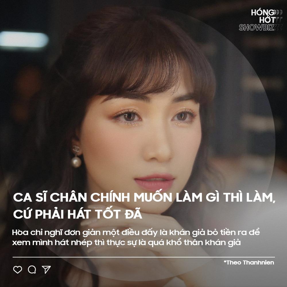 Hòa Minzy phản đối chuyện ca sĩ hát nhép. Ảnh: Hóng hớt showbiz.