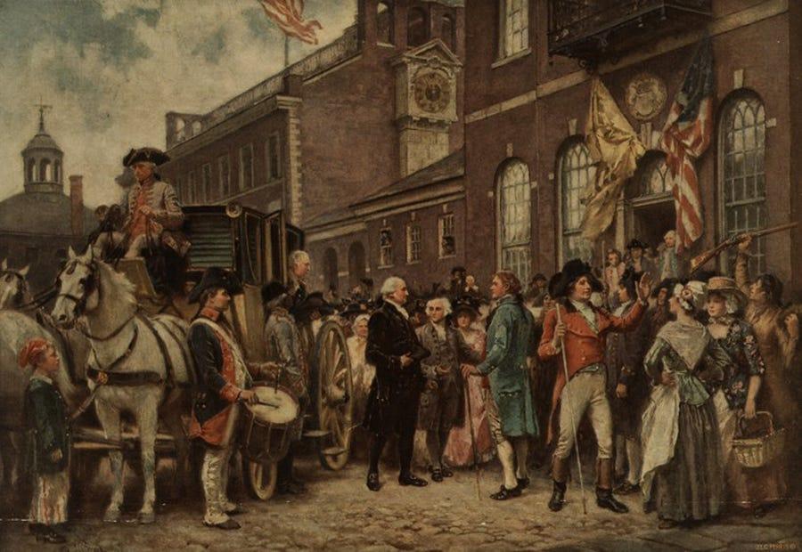 Bức ảnh về buổi lễ nhậm chức tổng thống thời George Washington.